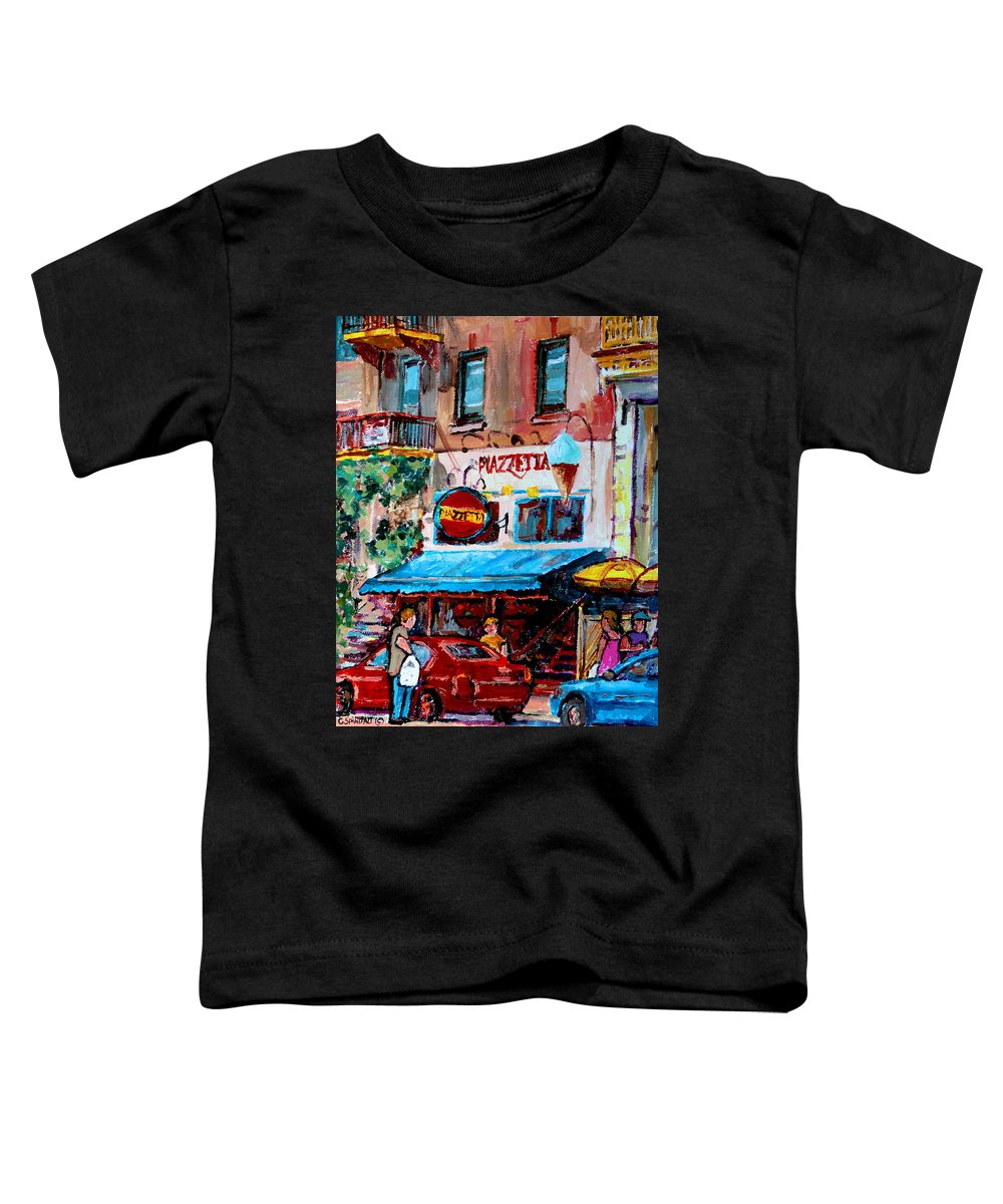 Cafes On St Denis Paris Cafes Toddler T-Shirt featuring the painting Cafe Piazzetta St Denis by Carole Spandau