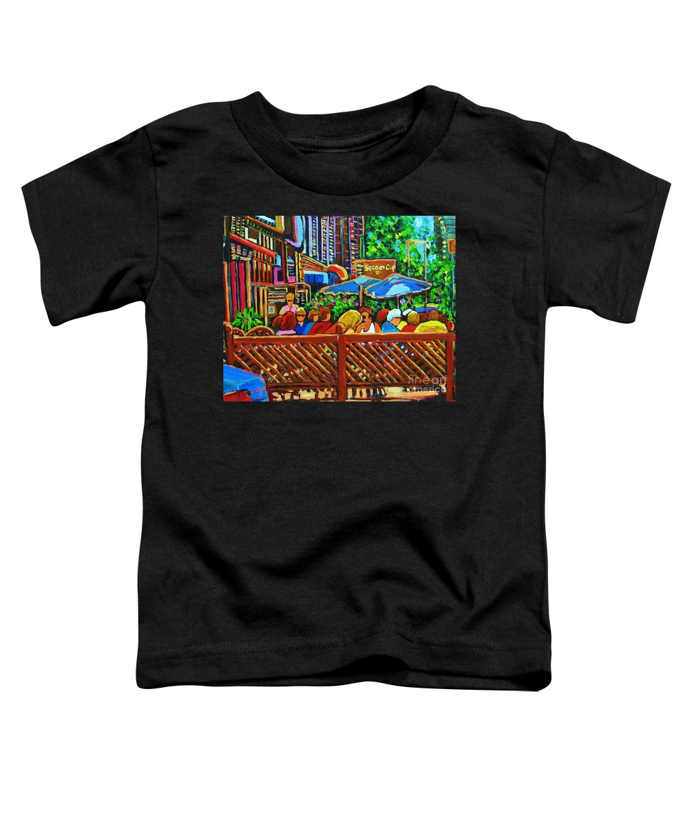 Cafes Toddler T-Shirt featuring the painting Cafe Second Cup by Carole Spandau