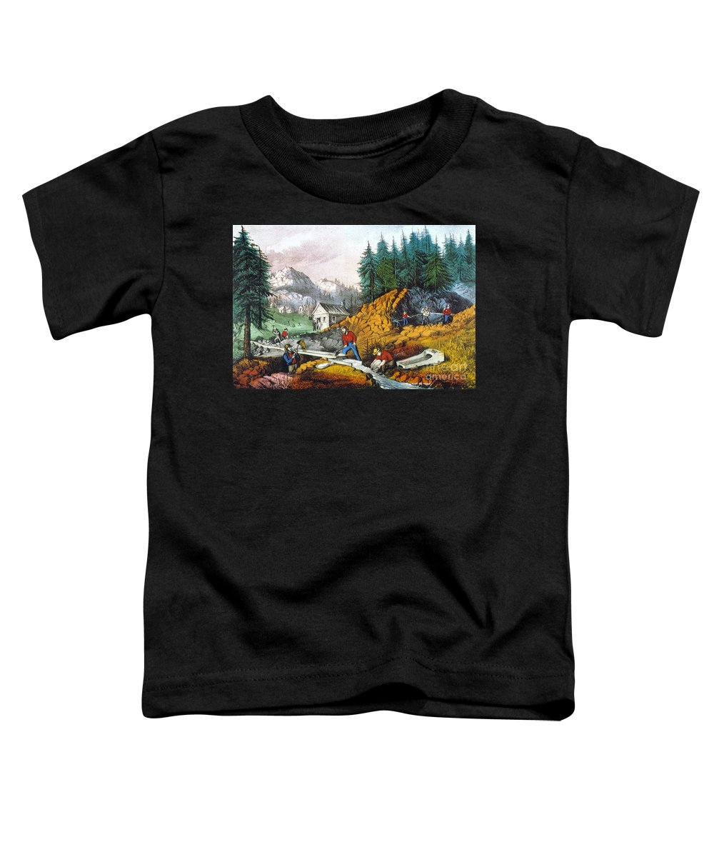 1871 Toddler T-Shirt featuring the photograph California: Gold Mining by Granger