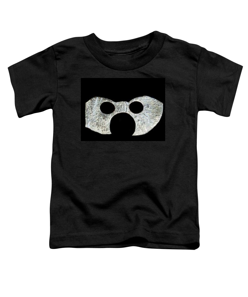 A Wearable Mardi Gras Carnival Or Costume Mask With A Leather Covered Holding Stick Toddler T-Shirt featuring the sculpture Carnival Series by Robert aka Bobby Ray Howle