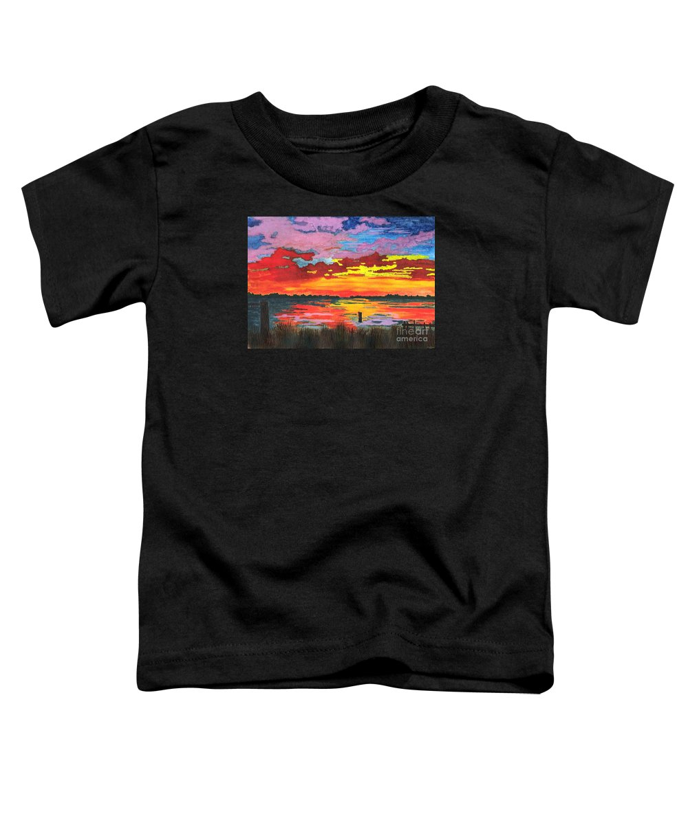 Original Painting Toddler T-Shirt featuring the painting Carolina Sunset by Patricia Griffin Brett