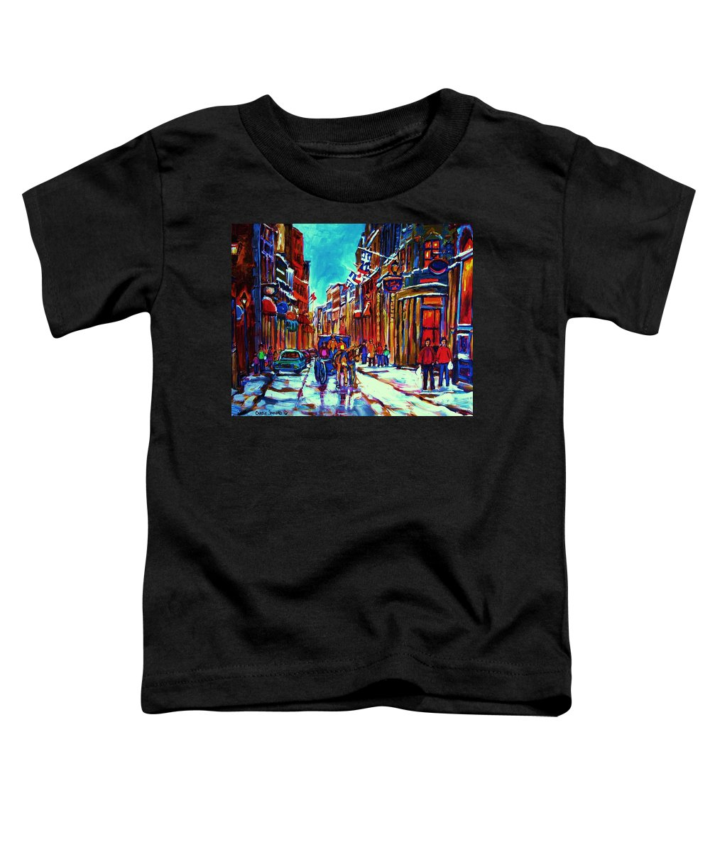 Old Montreal Toddler T-Shirt featuring the painting Carriage Ride Through The Old City by Carole Spandau
