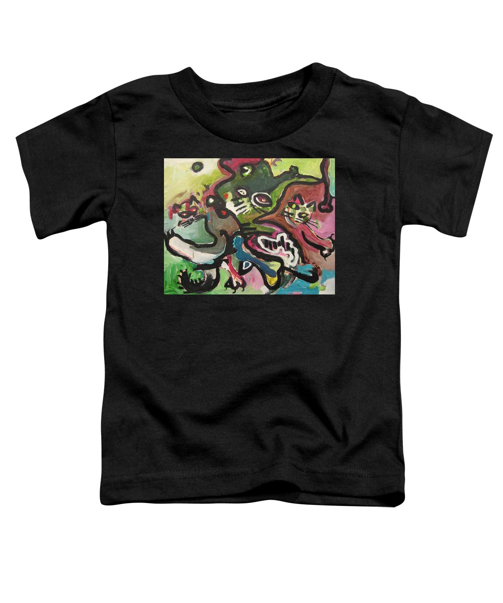 Cat Painting Toddler T-Shirt featuring the painting Cat Fight by Seon-Jeong Kim
