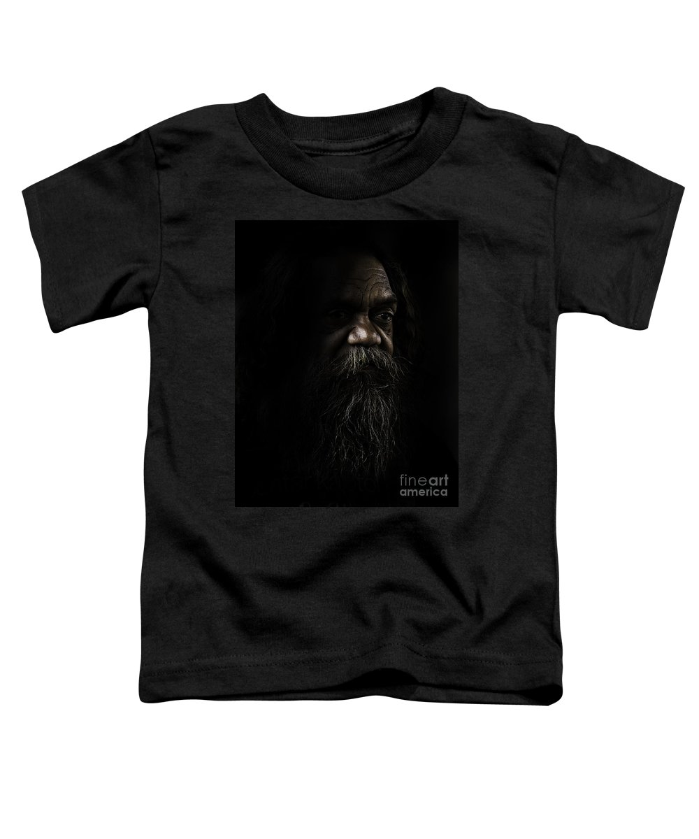 Fullblood Aborigine Toddler T-Shirt featuring the photograph Cedric In Shadows by Sheila Smart Fine Art Photography