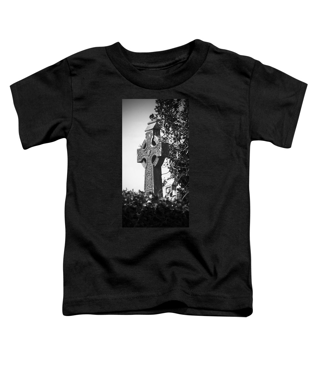 Celtic Toddler T-Shirt featuring the photograph Celtic Cross At Fuerty Cemetery Roscommon Ireland by Teresa Mucha