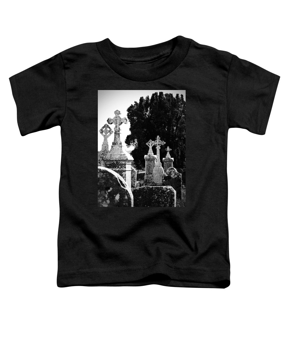 Celtic Toddler T-Shirt featuring the photograph Celtic Crosses At Fuerty Cemetery Roscommon Ireland by Teresa Mucha