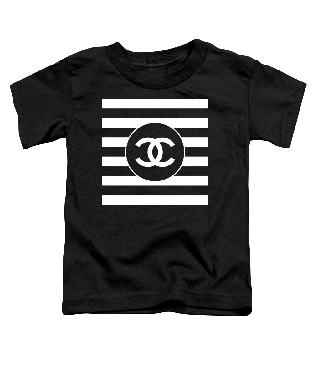 Chanel Toddler T-Shirt featuring the digital art Chanel - Stripe Pattern - Black And White 2 - Fashion And Lifestyle by TUSCAN Afternoon