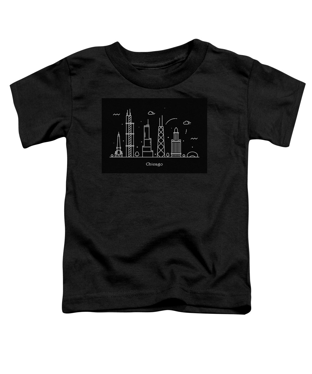 Chicago Toddler T-Shirt featuring the drawing Chicago Skyline Travel Poster by Inspirowl Design