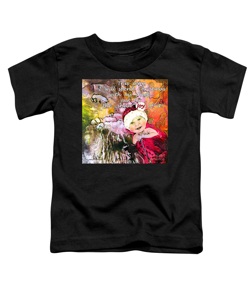 Acrylics Toddler T-Shirt featuring the painting Christmas With My Sheep by Miki De Goodaboom