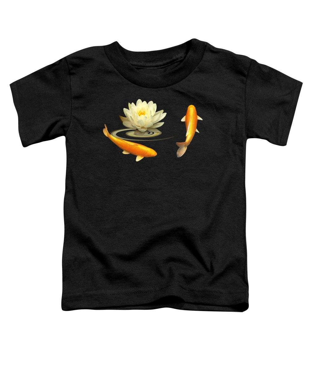 Japanese Koi Fish Toddler T-Shirt featuring the photograph Circle Of Life - Koi Carp With Water Lily by Gill Billington