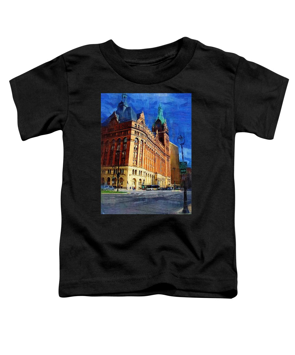 Architecture Toddler T-Shirt featuring the digital art City Hall And Lamp Post by Anita Burgermeister