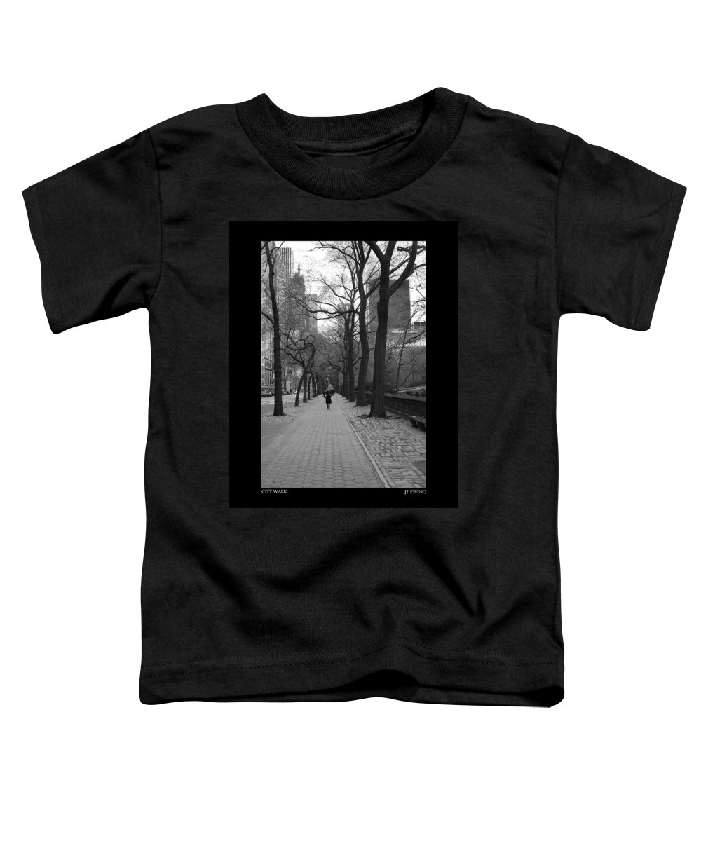 Black Toddler T-Shirt featuring the photograph City Walk by J Todd