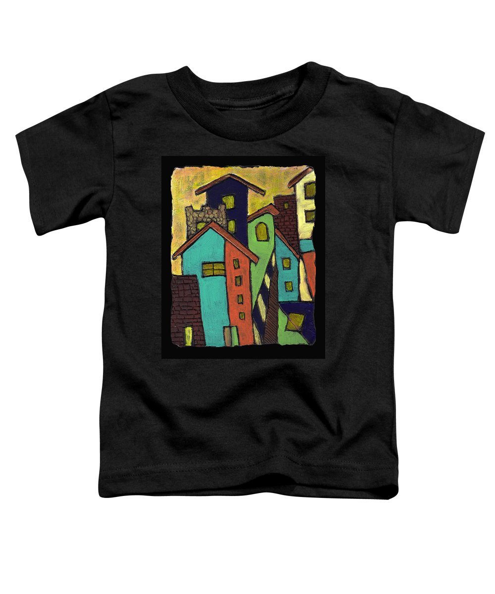 City Toddler T-Shirt featuring the painting Colorful Neighborhood by Wayne Potrafka