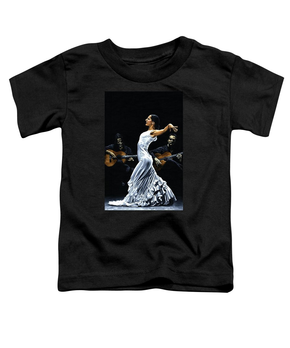 Flamenco Toddler T-Shirt featuring the painting Concentracion Del Funcionamiento Del Flamenco by Richard Young