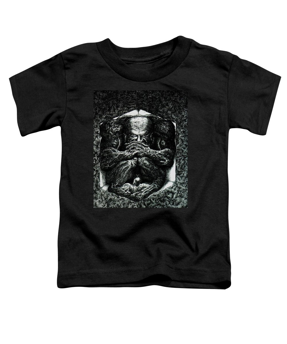 Dark Toddler T-Shirt featuring the drawing Contemplation by Tobey Anderson