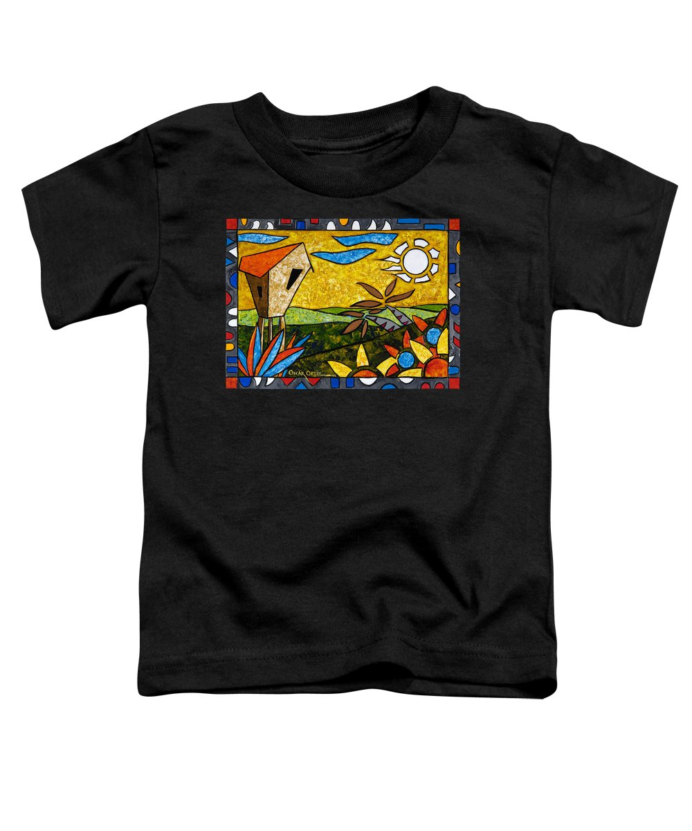 Puerto Rico Toddler T-Shirt featuring the painting Country Peace by Oscar Ortiz