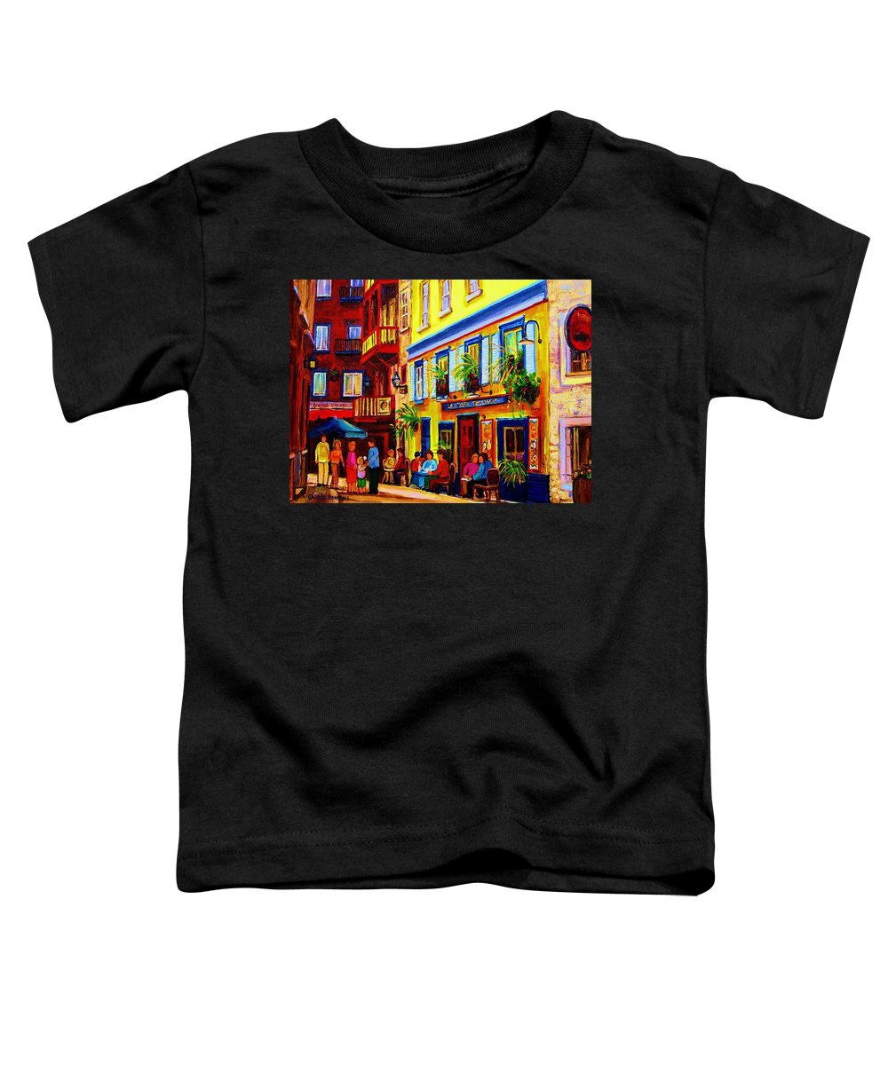 Courtyard Cafes Toddler T-Shirt featuring the painting Courtyard Cafes by Carole Spandau