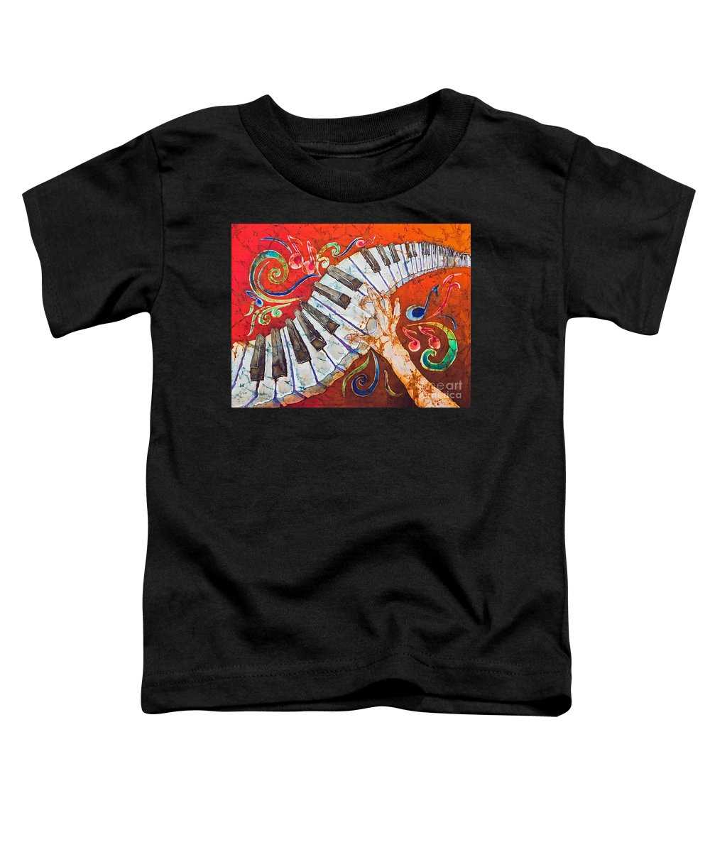 Piano Toddler T-Shirt featuring the tapestry - textile Crazy Fingers - Piano Keyboard by Sue Duda