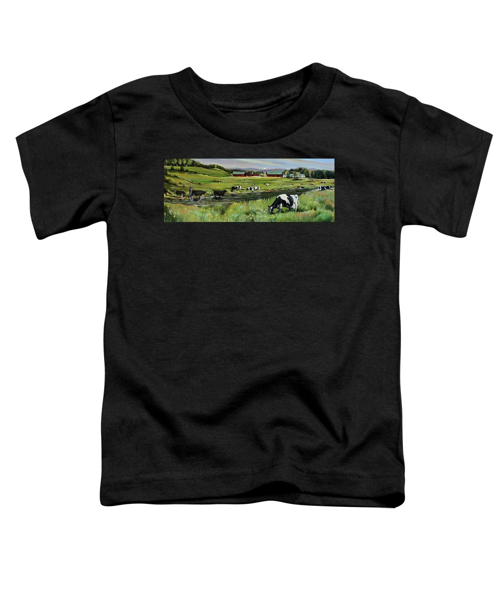 Landscape Toddler T-Shirt featuring the painting Dairy Farm Dream by Nancy Griswold