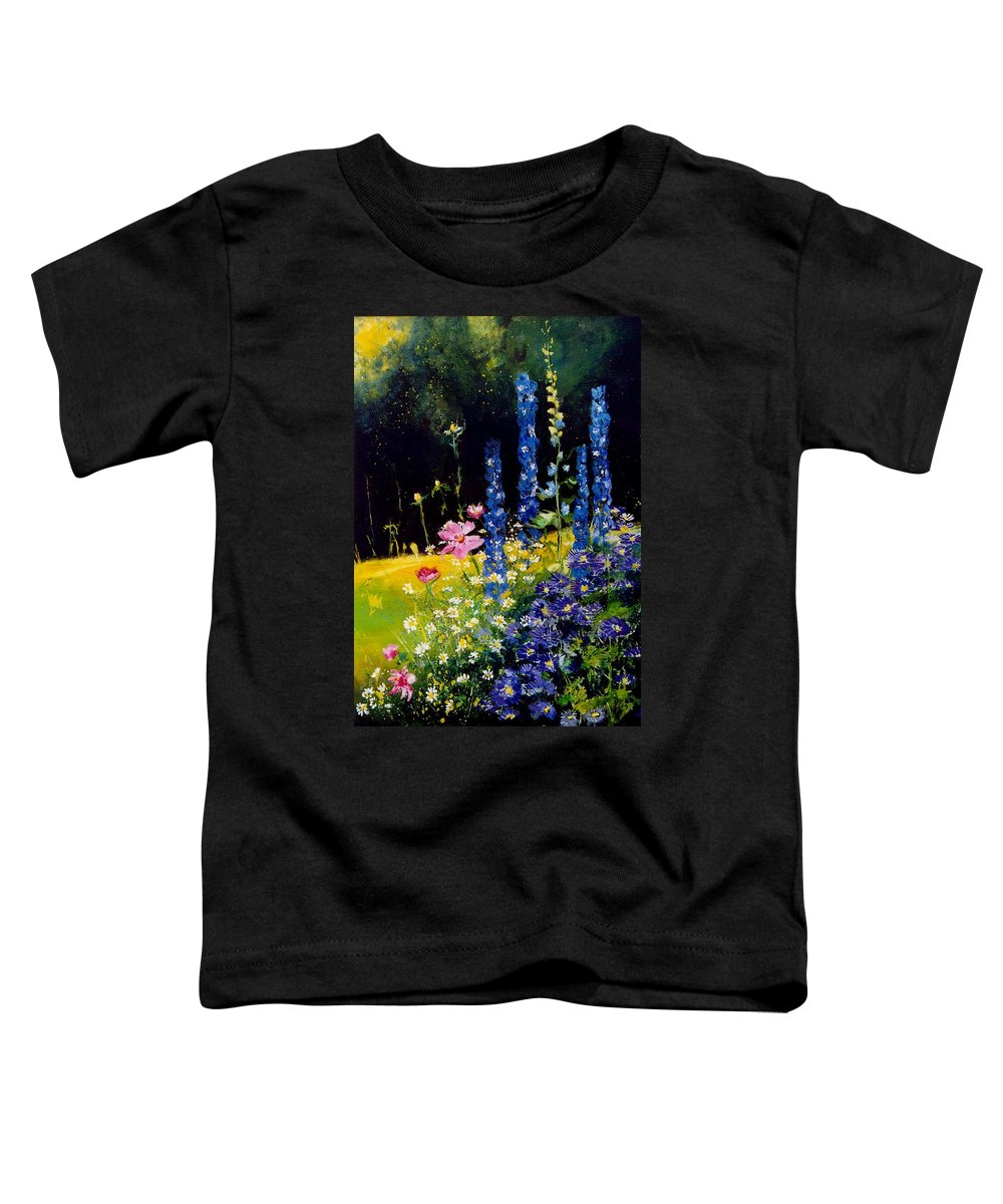 Poppies Toddler T-Shirt featuring the painting Delphiniums by Pol Ledent