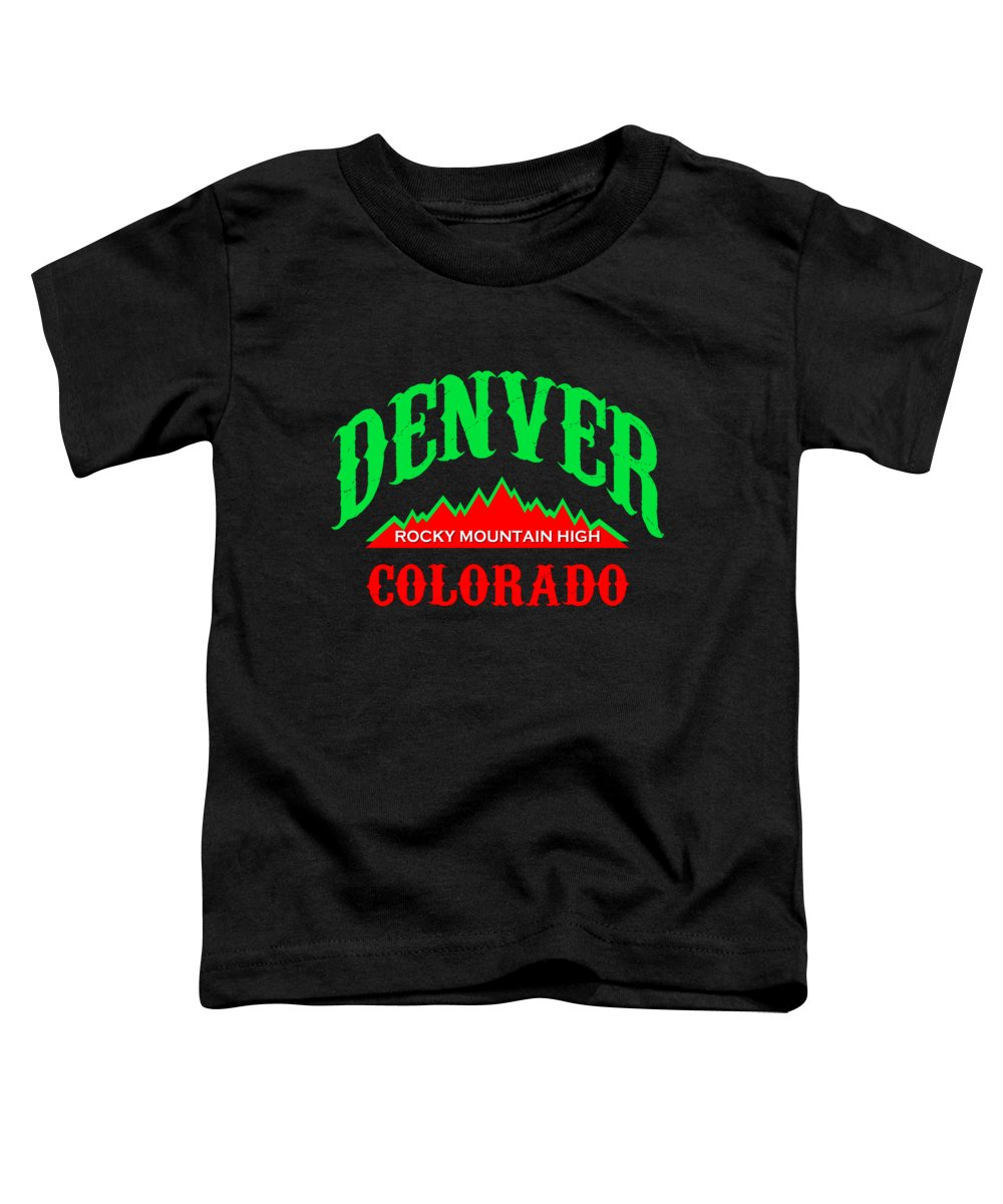 Denver Toddler T-Shirt featuring the mixed media Denver Colorado Rocky Mountain Design by Peter Potter