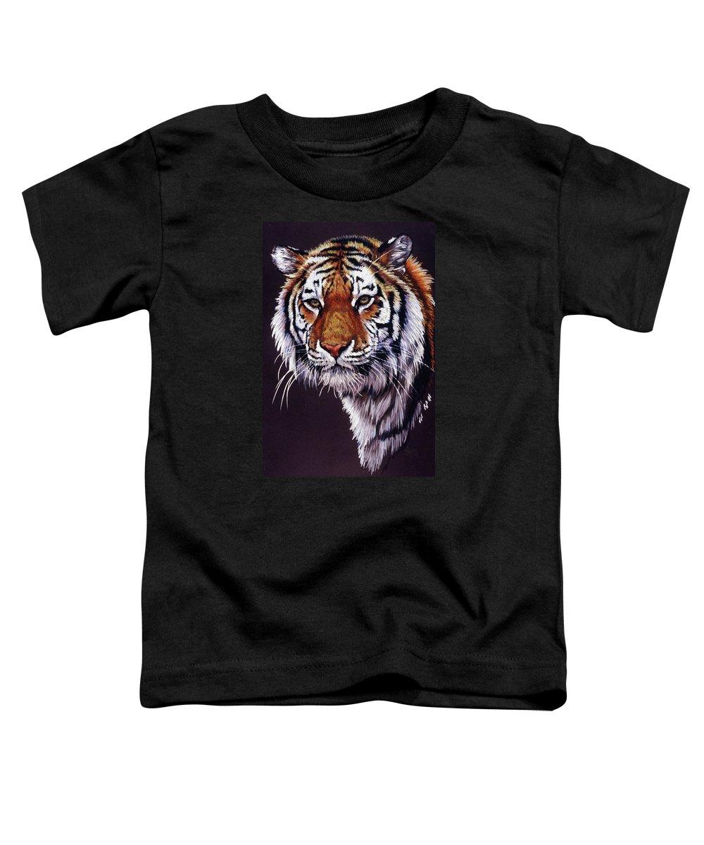 Tiger Toddler T-Shirt featuring the drawing Desperado by Barbara Keith