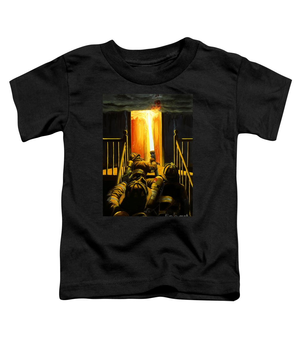 Firefighting Toddler T-Shirt featuring the painting Devil's Stairway by Paul Walsh