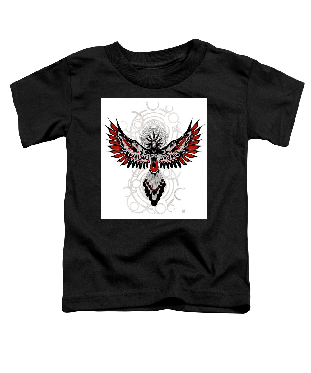 Crow Toddler T-Shirt featuring the painting Divine Crow Woman by Sassan Filsoof
