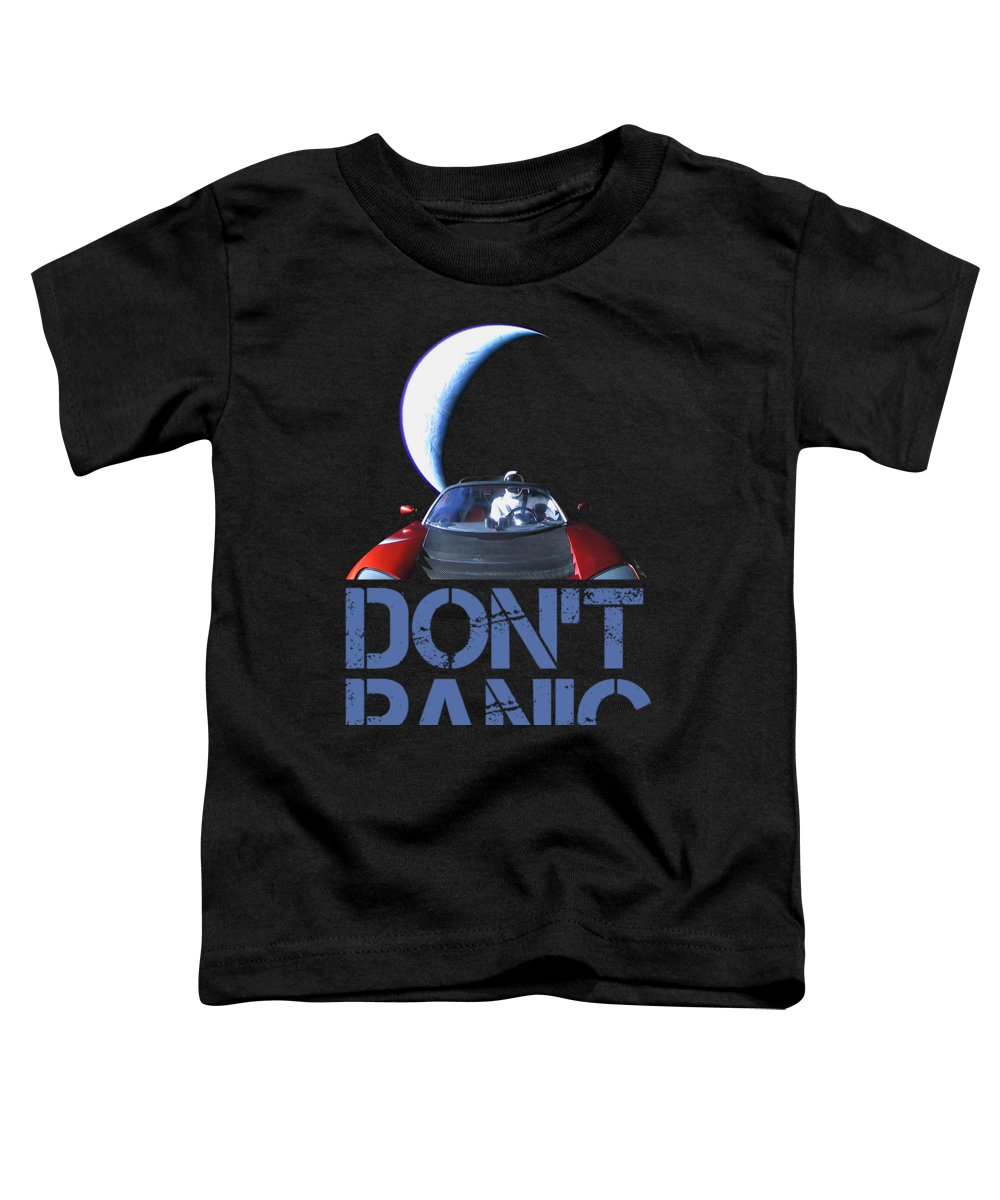 Dont Panic Toddler T-Shirt featuring the mixed media Don't Panic Starman by Filip Hellman