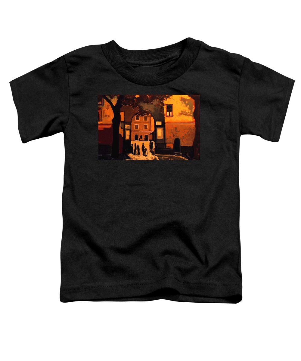 Cityscape Toddler T-Shirt featuring the painting Dusk by Kurt Hausmann