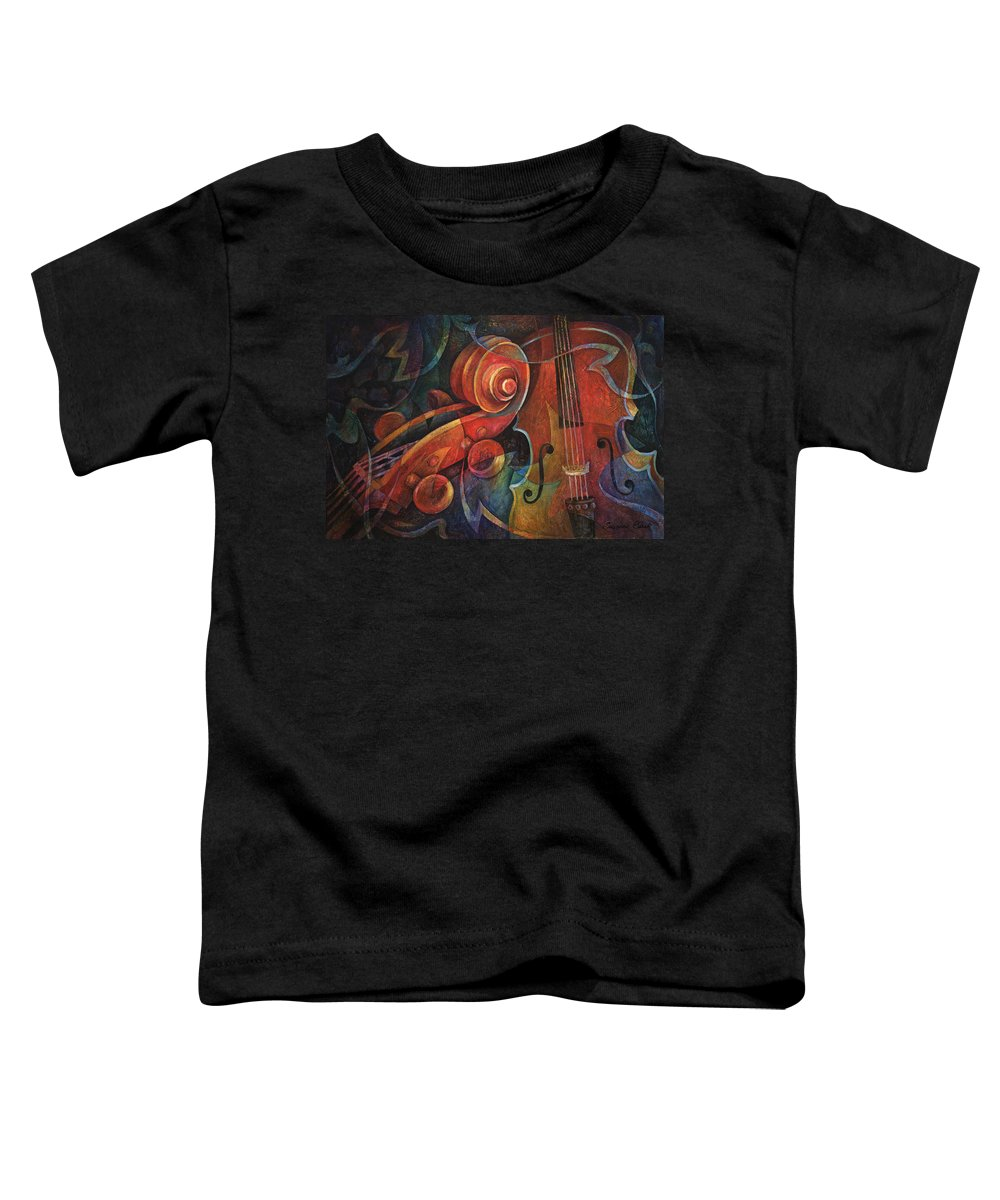 Susanne Clark Toddler T-Shirt featuring the painting Dynamic Duo - Cello And Scroll by Susanne Clark