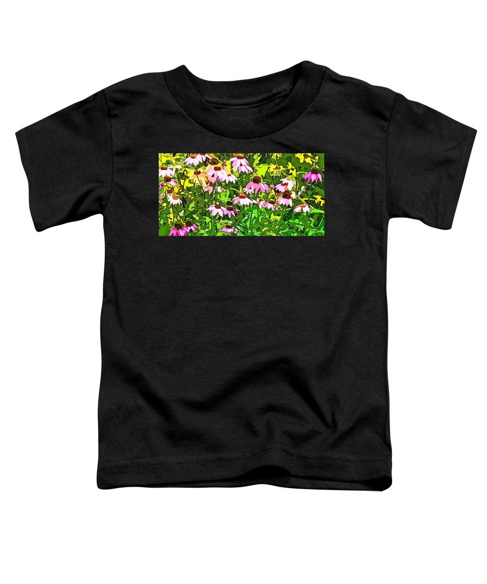 Contemporary Toddler T-Shirt featuring the digital art Echinacea Imagined by Linda Mears
