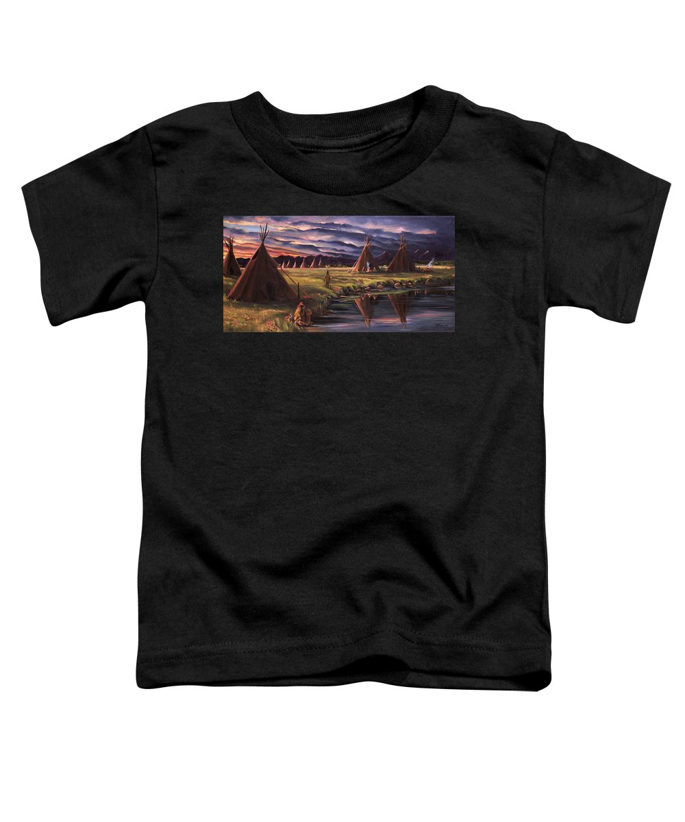 Native American Toddler T-Shirt featuring the painting Encampment At Dusk by Nancy Griswold