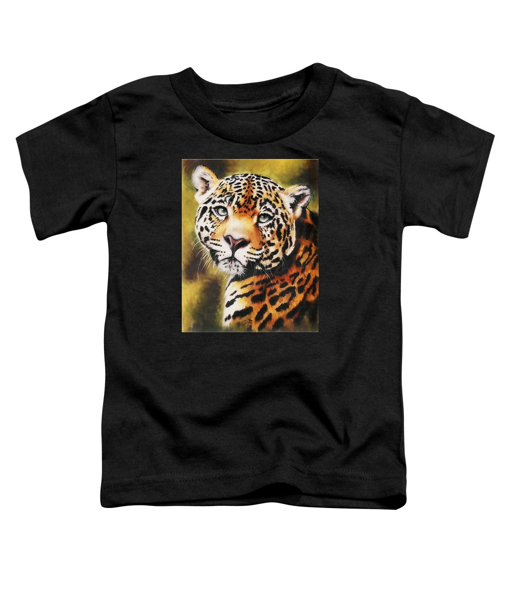 Jaguar Toddler T-Shirt featuring the pastel Enchantress by Barbara Keith
