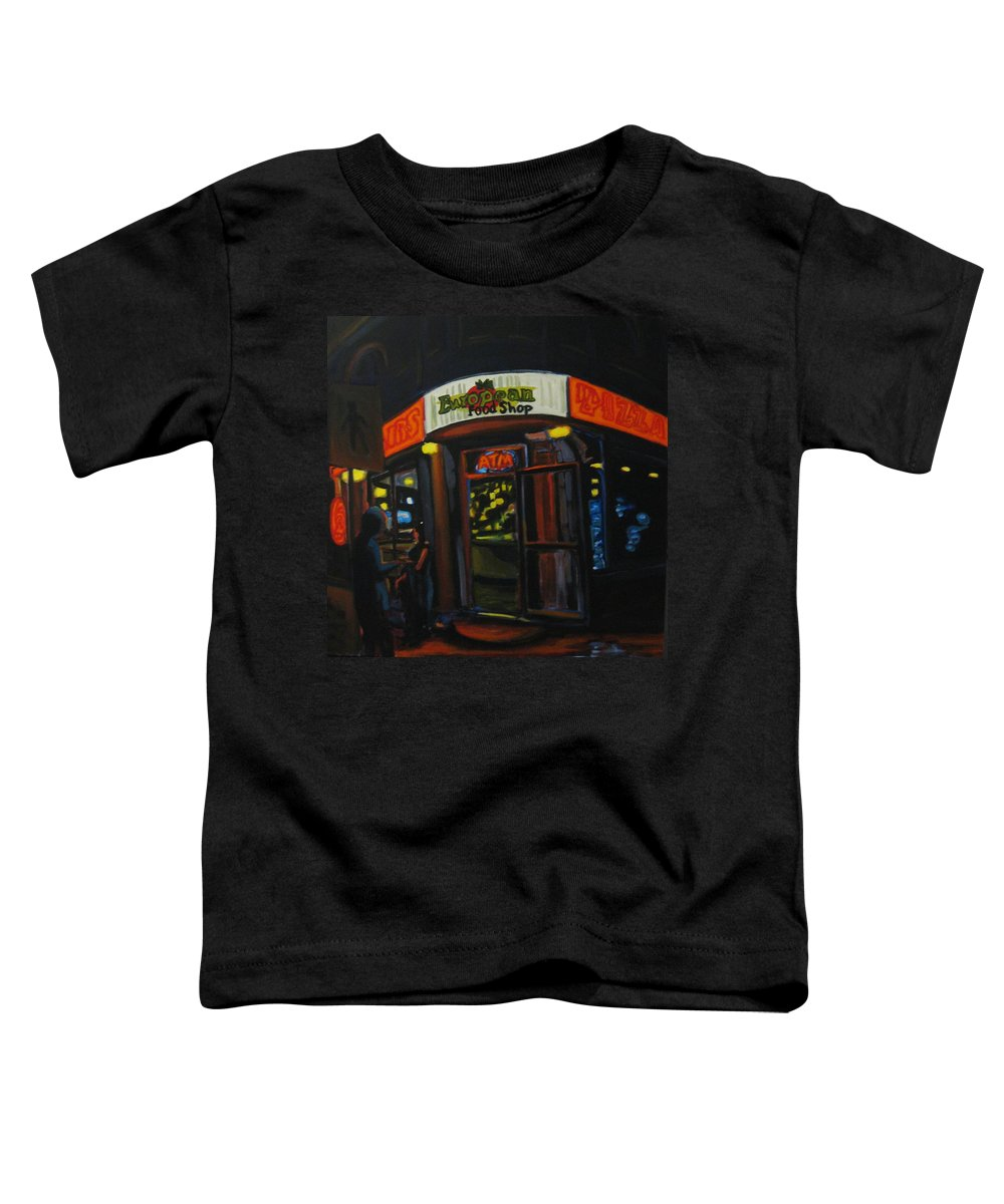 City Toddler T-Shirt featuring the painting European Food Shop by John Malone