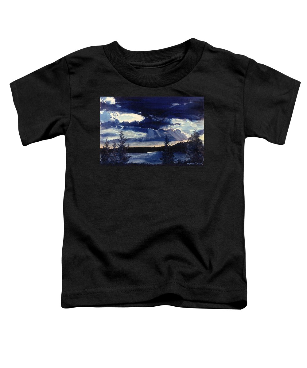 Landscape Toddler T-Shirt featuring the painting Evening Lake by Steve Karol