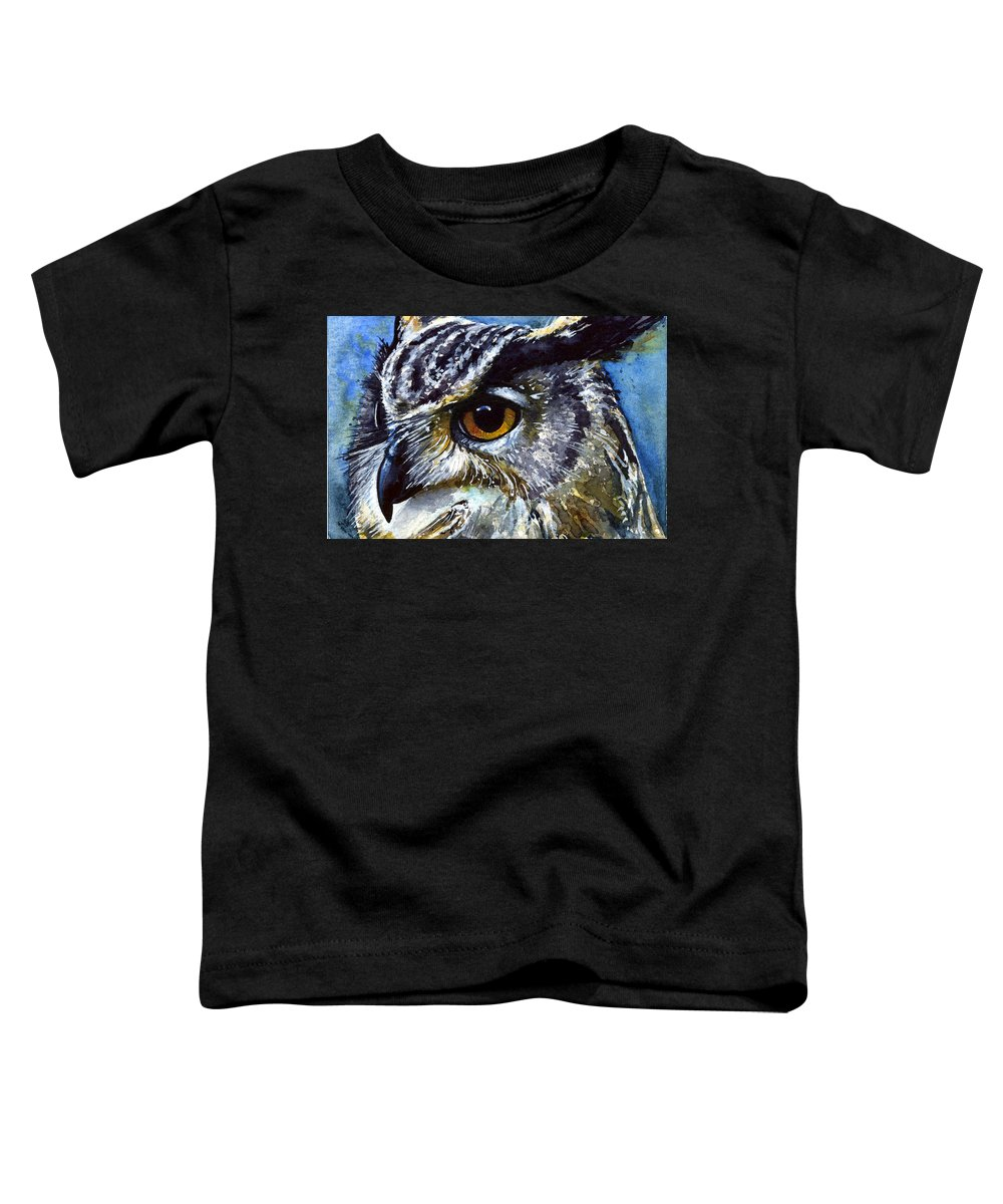 Owls Toddler T-Shirt featuring the painting Eyes Of Owls No.25 by John D Benson