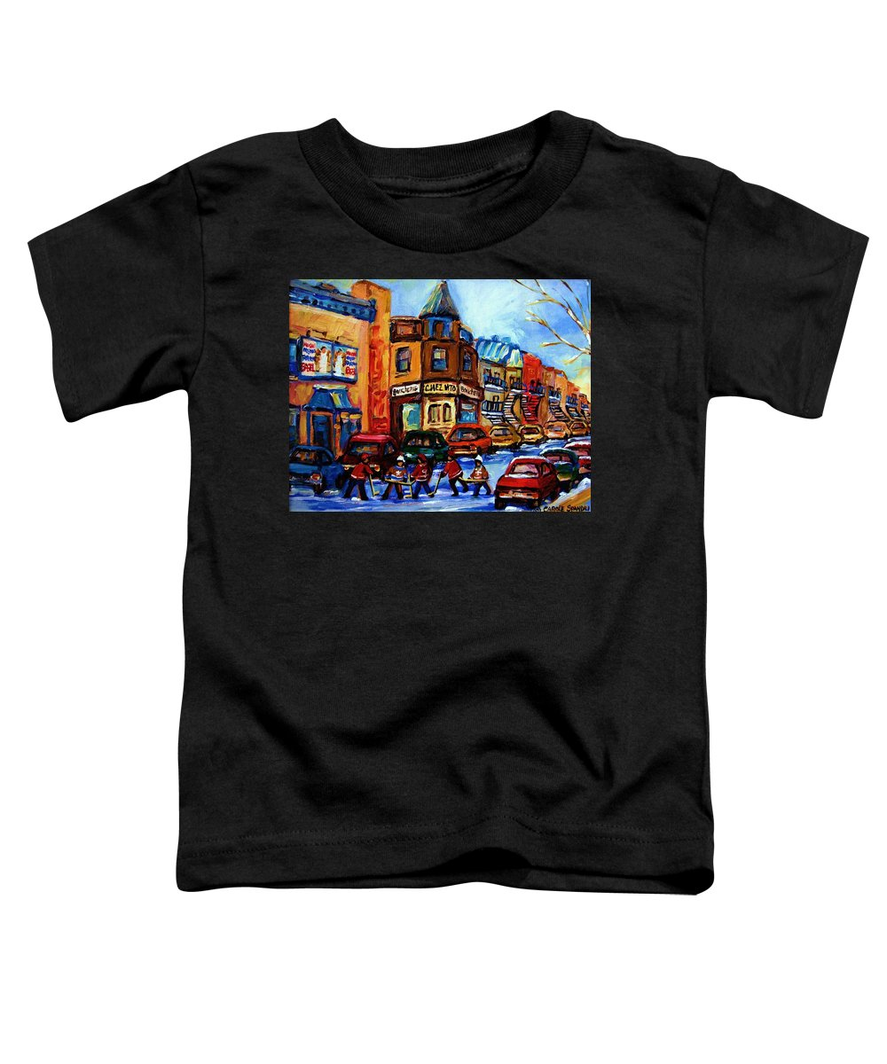 Hockey Toddler T-Shirt featuring the painting Fairmount Bagel With Hockey Game by Carole Spandau