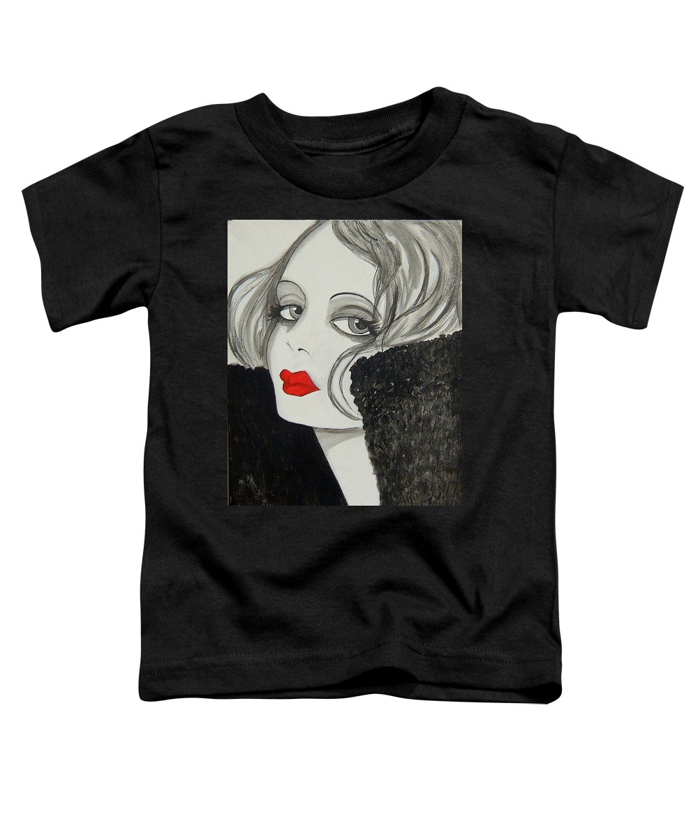 Cinema Toddler T-Shirt featuring the painting Femme Fatale by Rosie Harper