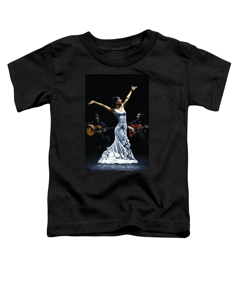 Flamenco Toddler T-Shirt featuring the painting Finale Del Funcionamiento Del Flamenco by Richard Young