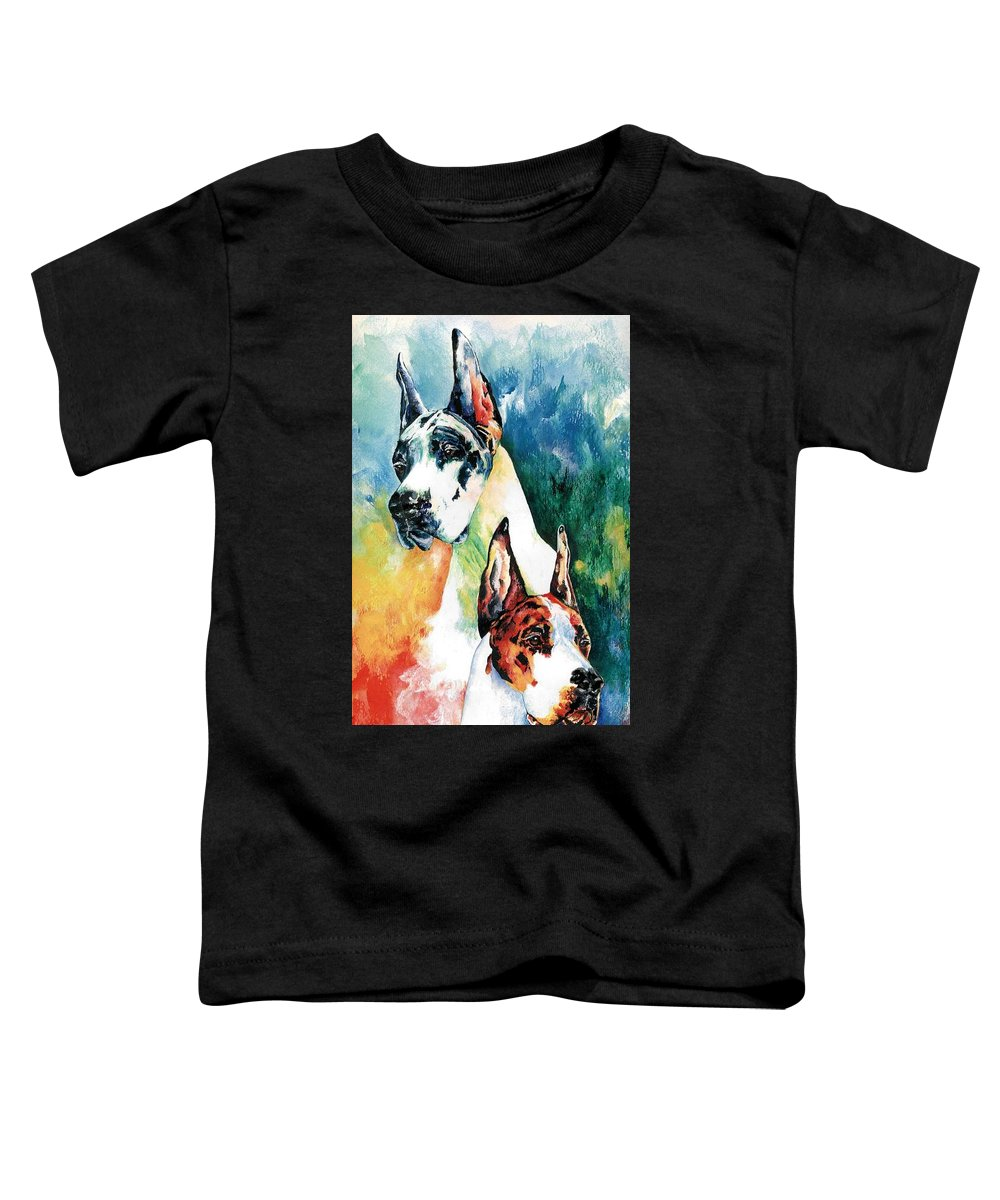 Great Dane Toddler T-Shirt featuring the painting Fire And Ice by Kathleen Sepulveda
