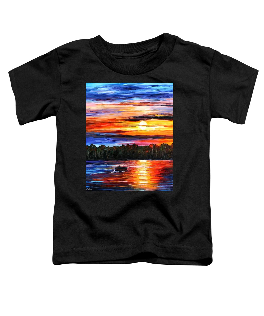 Seascape Toddler T-Shirt featuring the painting Fishing By The Sunset by Leonid Afremov
