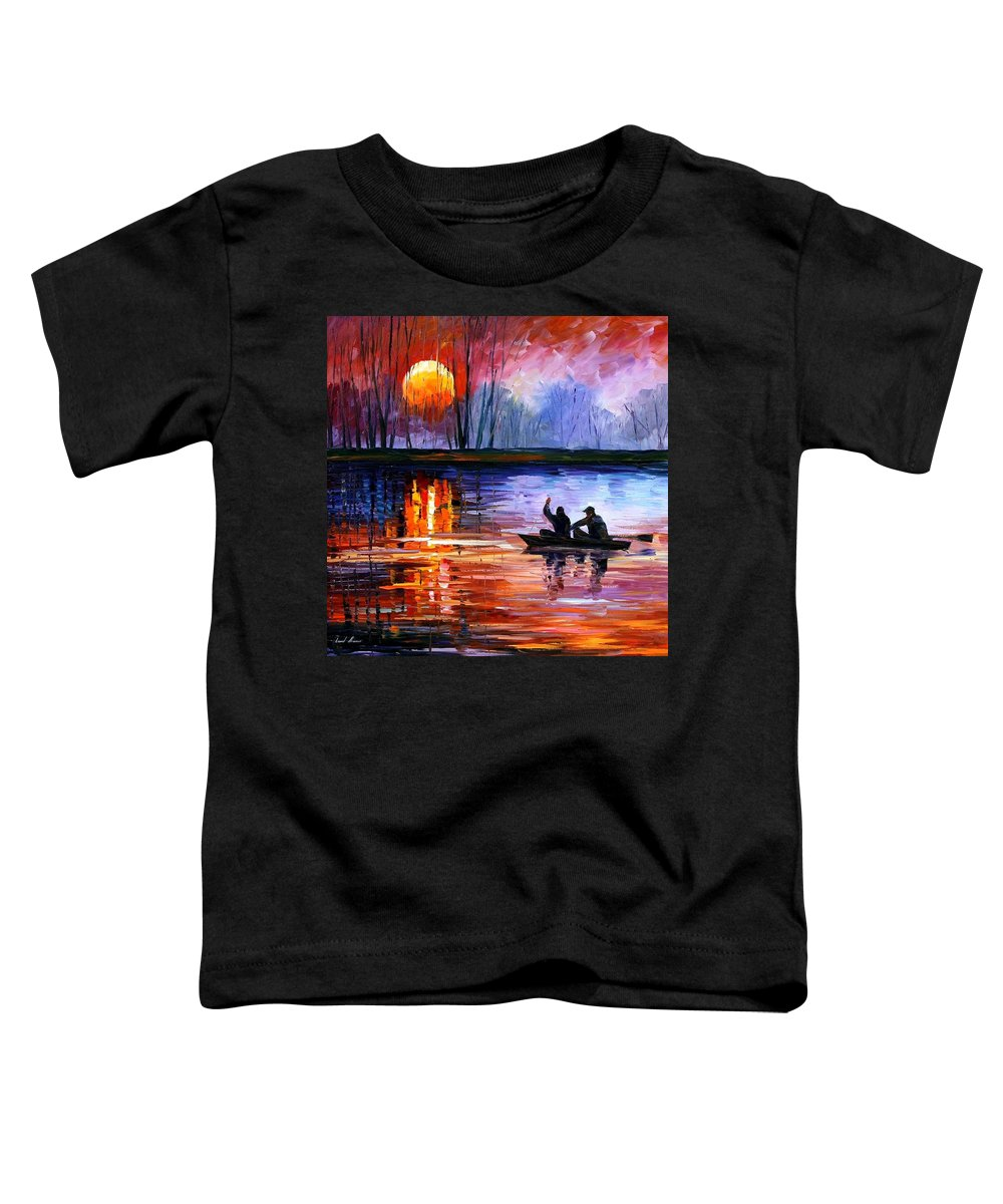 Seascape Toddler T-Shirt featuring the painting Fishing On The Lake by Leonid Afremov