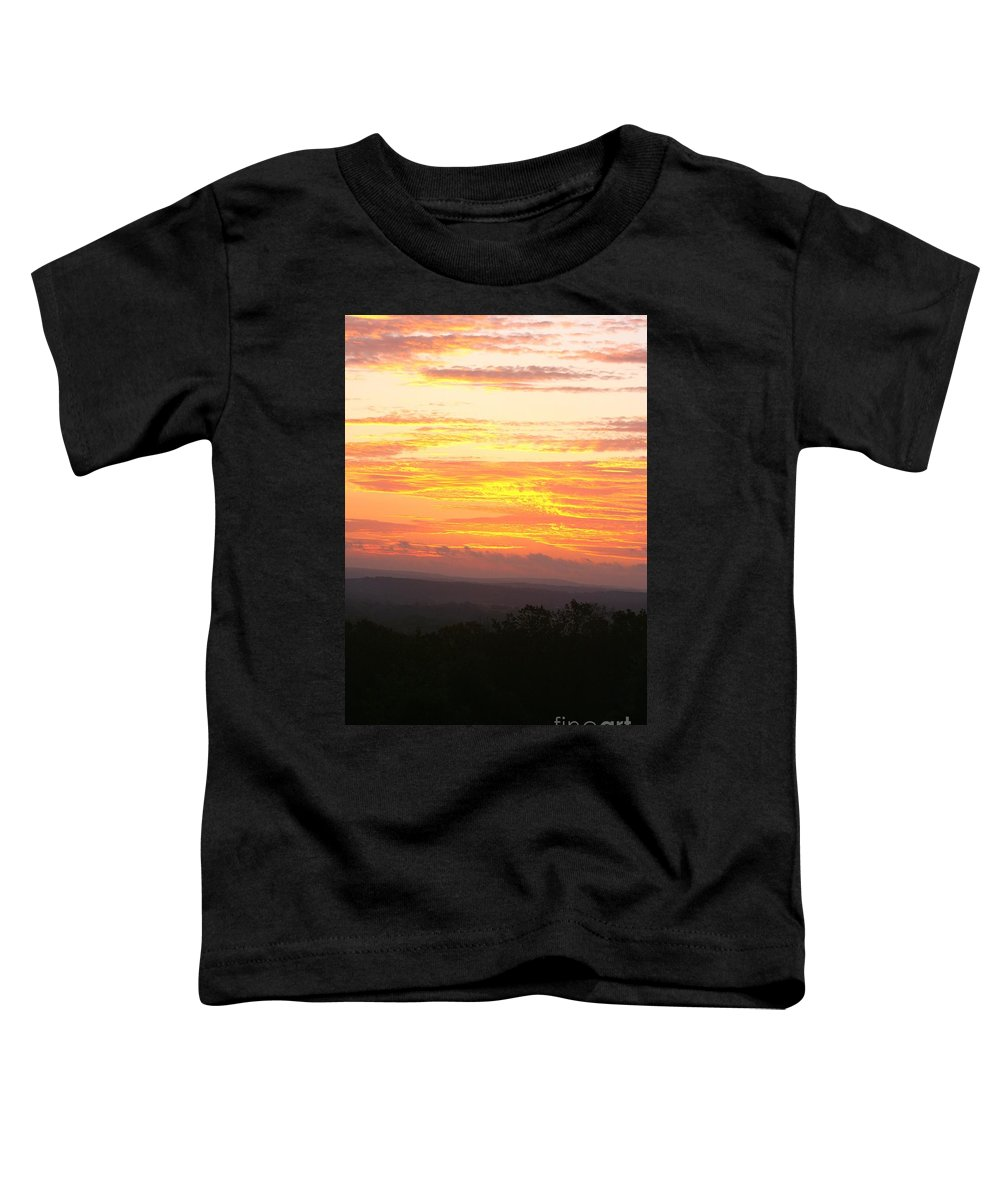 Sunrise Toddler T-Shirt featuring the photograph Flaming Autumn Sunrise by Nadine Rippelmeyer
