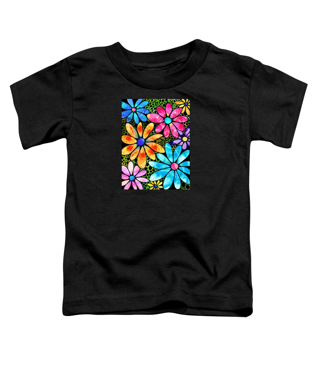 Flower Toddler T-Shirt featuring the painting Floral Art - Big Flower Love - Sharon Cummings by Sharon Cummings