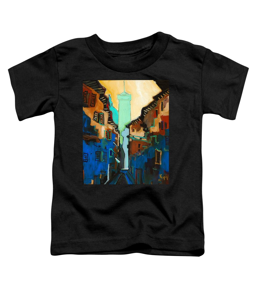 Florence Toddler T-Shirt featuring the painting Florence Street Study by Kurt Hausmann