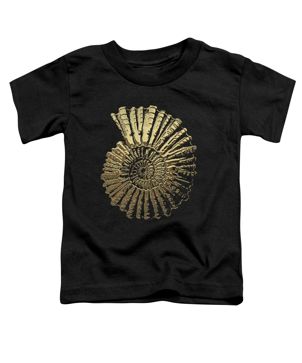 'fossil Record' Collection By Serge Averbukh Toddler T-Shirt featuring the digital art Fossil Record - Golden Ammonite On Black by Serge Averbukh
