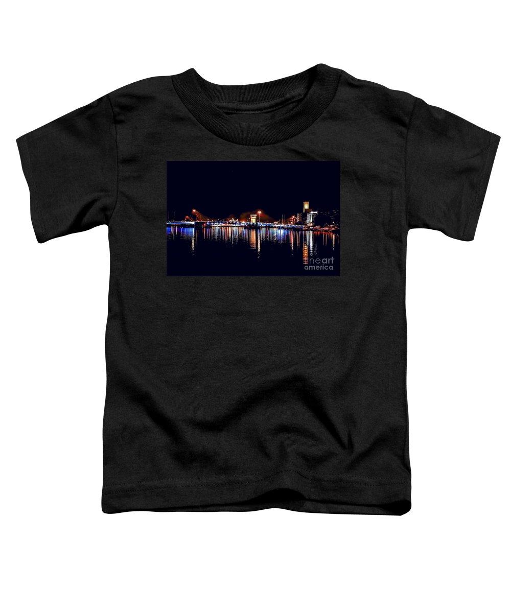 Bridge Toddler T-Shirt featuring the photograph Fox River Green Bay at Night by Nikki Vig