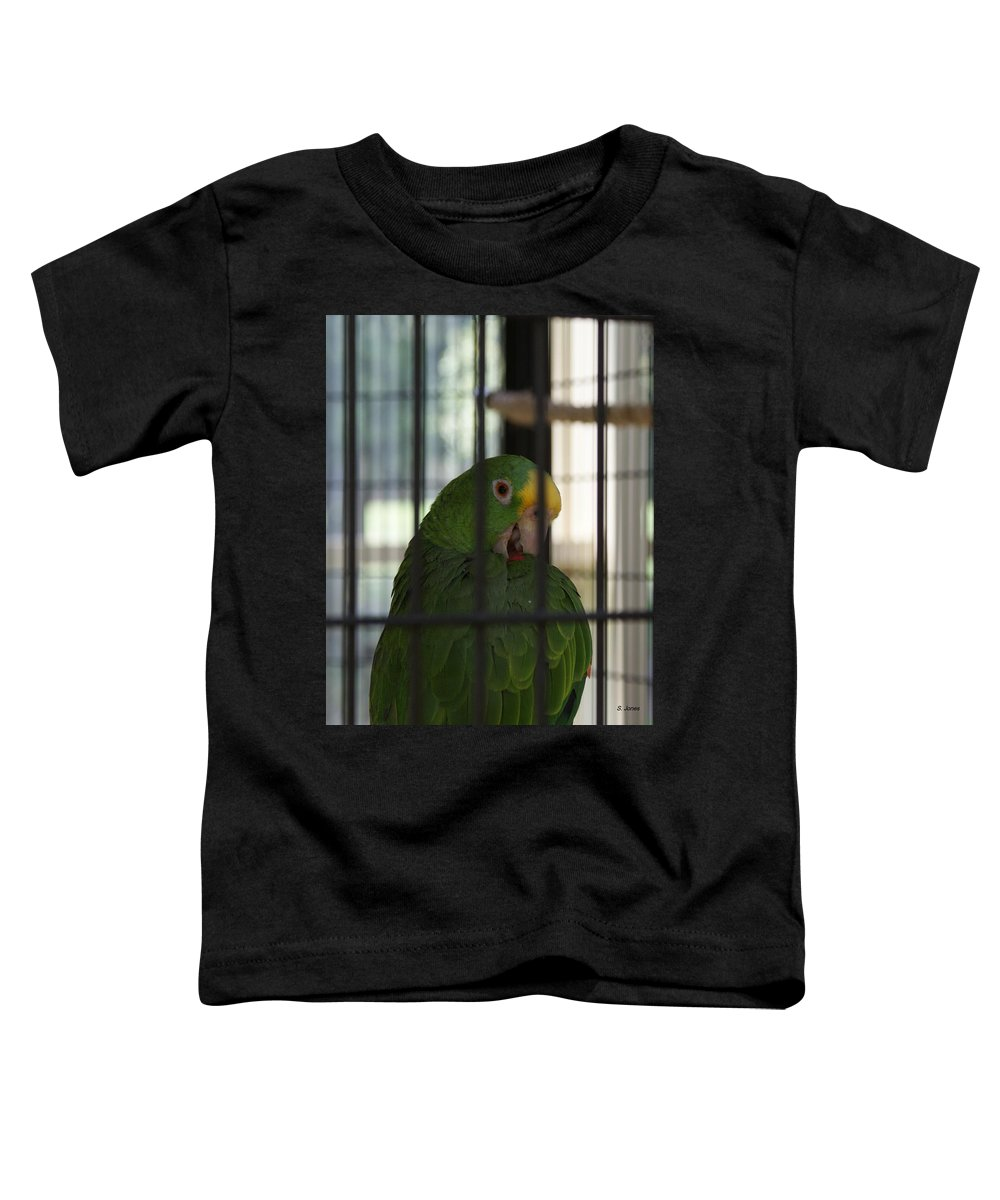 Parrot Toddler T-Shirt featuring the photograph Framed by Shelley Jones