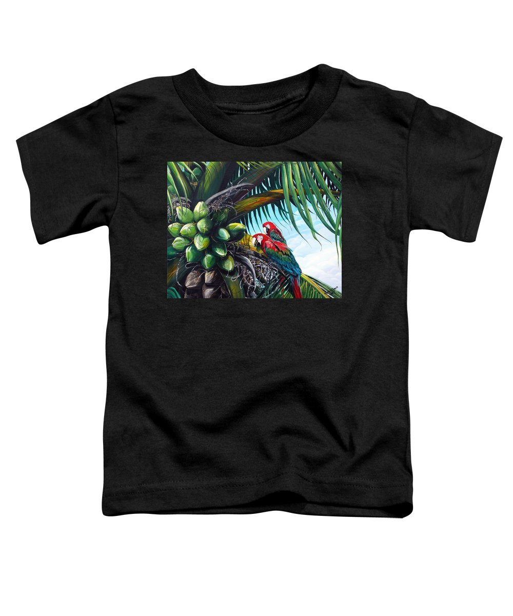 Macaws Bird Painting Coconut Palm Tree Painting Parrots Caribbean Painting Tropical Painting Coconuts Painting Palm Tree Greeting Card Painting Toddler T-Shirt featuring the painting Friends Of A Feather by Karin Dawn Kelshall- Best
